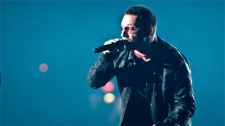 U2 frontman Bono performs in Vancouver, B.C., on October 28, 2009. (Anil Sharma for ctvbc.ca)