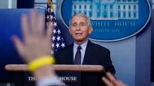 Dr. Anthony Fauci, director of the National Institute of Allergy and Infectious Diseases, takes questions as he speaks with reporters in the James Brady Press Briefing Room at the White House, on Jan. 21, 2021, in Washington. (Alex Brandon / AP)