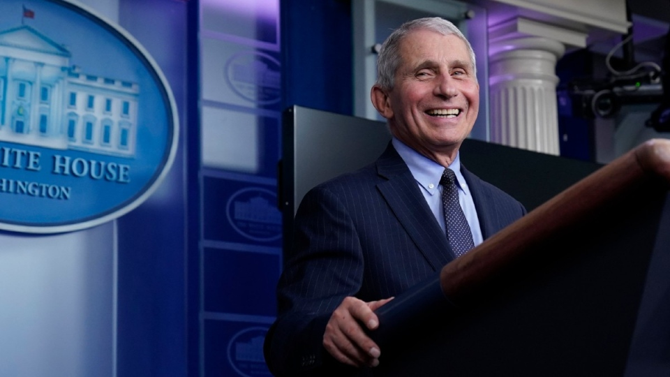 Dr. Anthony Fauci laughs while speaking