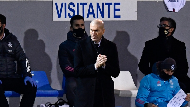 Real Madrid's head coach Zinedine Zidane applauds during a Spanish Copa del Rey round of 32 soccer match between Alcoyano and Real Madrid at the El Collao stadium in Alcoy, Spain, Wednesday Jan. 20, 2021. (AP Photo/Jose Breton)