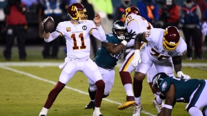 Washington Football Team's Alex Smith plays during the first half of an NFL football game against the Philadelphia Eagles, Sunday, Jan. 3, 2021, in Philadelphia. (AP Photo/Derik Hamilton, File)
