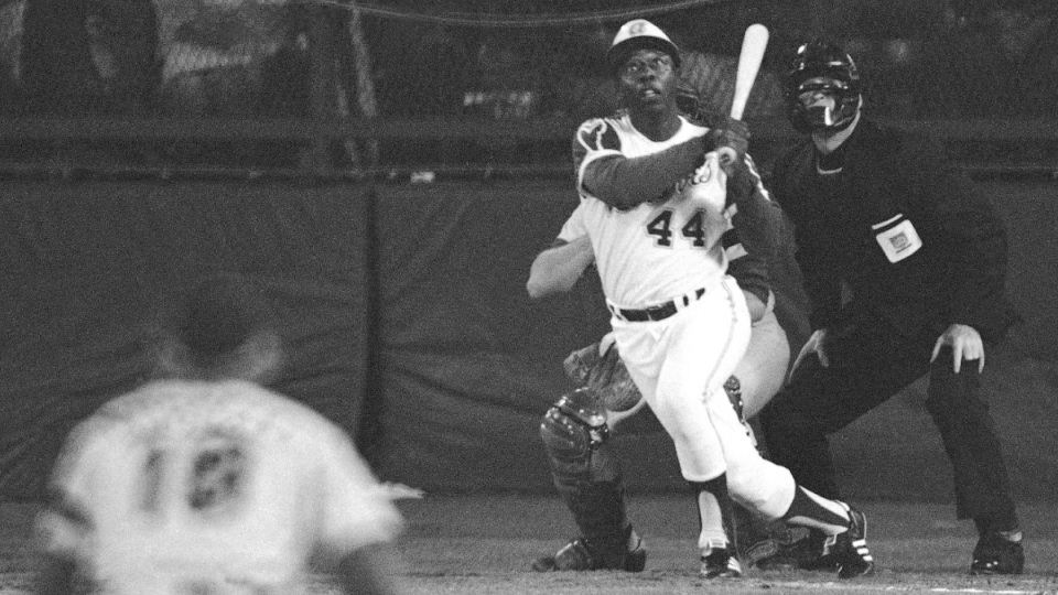 Hank Aaron hits his 715th career homer
