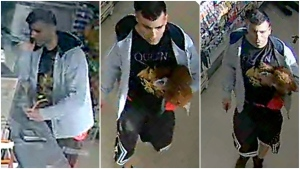 Photos from surveillance camera video show the suspect in an assault at a Vancouver convenience store. (VPD)