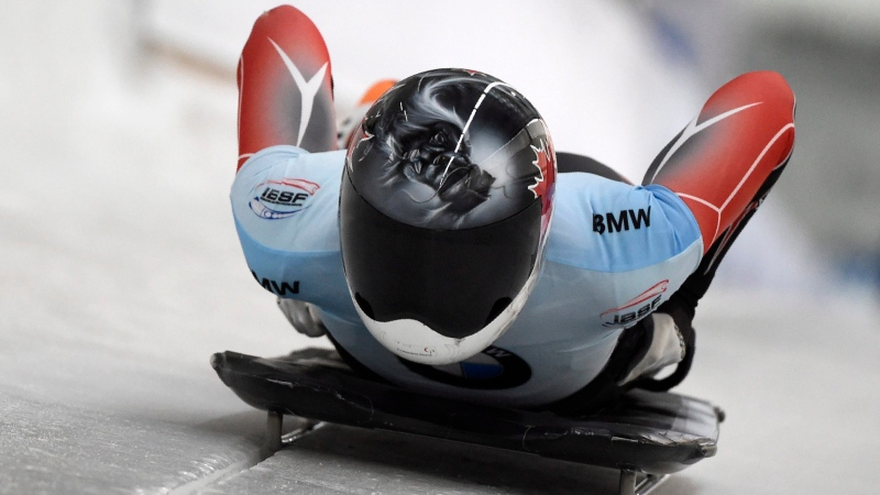 Jane Channell of Canada starts during the women's Skeleton competition at the Bobsleigh and Skeleton World Championships in Altenberg, eastern Germany, Saturday, Feb. 29, 2020. (AP Photo/Jens Meyer)