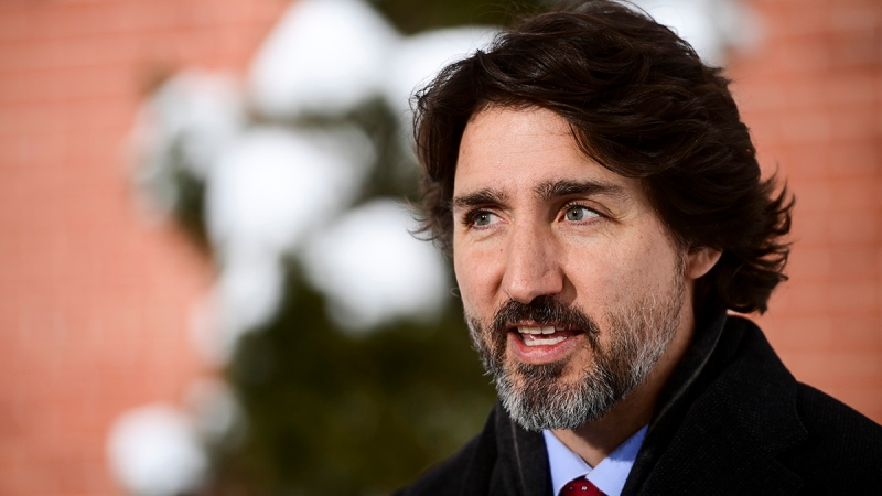 Prime Minister Justin Trudeau holds a press conference at Rideau Cottage in Ottawa on Friday, Jan. 22, 2021.