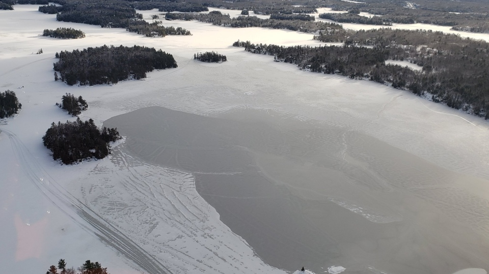 Aerial view of Southern Georgian Bay on Wed., Jan. 20, 2021 (OPP)