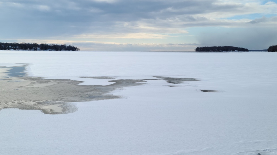 Ice conditions on Lake Simcoe in Orillia, Ont., on Tues., Jan. 19, 2021. (OPP)