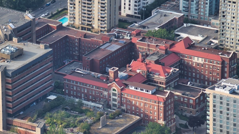St. Paul's Hospital in Vancouver is seen from the air in summer 2019. (Pete Cline / CTV News Vancouver)