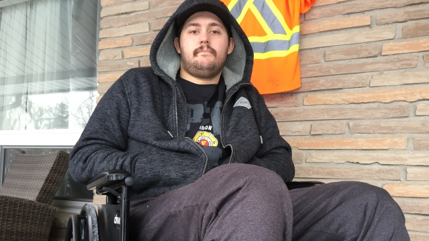 Jacob Hurl, man injured in the Teeple Terrace building collapse in London Ont. is seen here on Jan. 22, 2021. (Bryan Bicknell/CTV London)