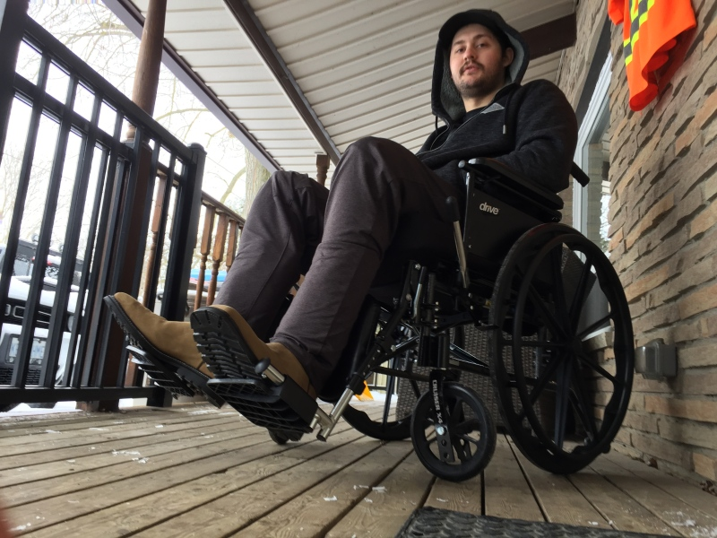 Jacob Hurl, man injured in Teeple Terrace building collapse in London Ont. seen here on Jan. 22, 2021. (Bryan Bicknell/CTV London)