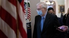 Senate Minority Leader Mitch McConnell, a Republican from Kentucky, wears a protective mask while walking to his office from the Senate Chamber at the U.S. Capitol in Washington, DC, on January 21. (Stefani Reynolds/Bloomberg/Getty Images via CNN)