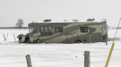 A motorhome and pickup truck collided near Milverton