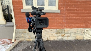 A CTV camera set up for a shoot (Jessica Smith / CTV News Kitchener)