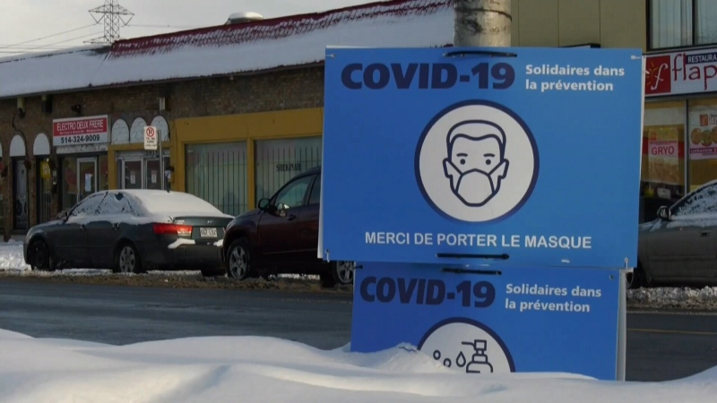 covid sign in montreal