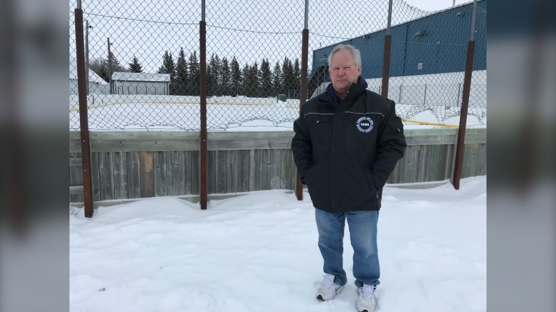 Dave Underwood, director of the Interlake Minor Hockey Association, poses for a photo on January 22, 2021. The Interlake Minor Hockey Association officially cancelled its season due to the extension of Manitoba's code red restrictions. (CTV News Photo josh Crabb)