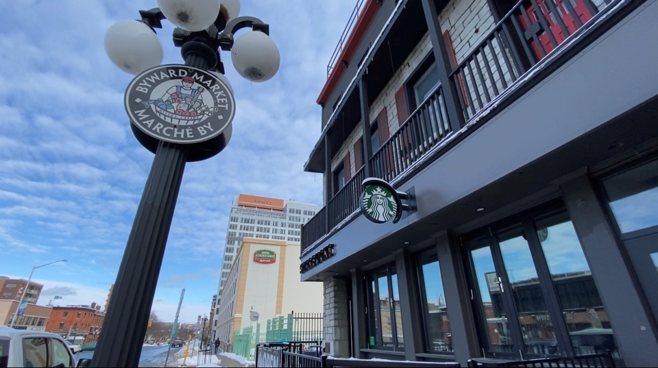 Starbucks in Ottawa's Byward Market, will be closing in the coming weeks. The coffee-chain has accelerated plans to close up to 300 locations across Canada by March and it's another blow to the city's downtown sector as business struggle to survive. Ottawa, ON. (Tyler Fleming/CTV News Ottawa)