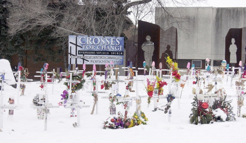 A memorial to victims of the opioid crisis is seen on Paris Street in Sudbury. A community group in Sudbury that advocates for drug users says there have been seven suspected overdose deaths in the city in the past 10 days. (Jaime McKee/CTV News)