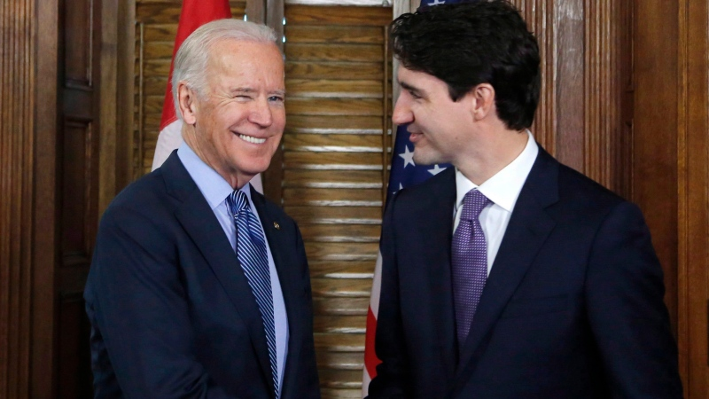 Prime Minister Justin Trudeau shakes hands with US Vice-President Joe Biden on Parliament Hill in Ottawa on Friday, December 9, 2016.Democrat Joe Biden defeated President Donald Trump to become the 46th president of the United States on Saturday, positioning himself to lead a nation gripped by the historic pandemic and a confluence of economic and social turmoil. THE CANADIAN PRESS/Patrick Doyle