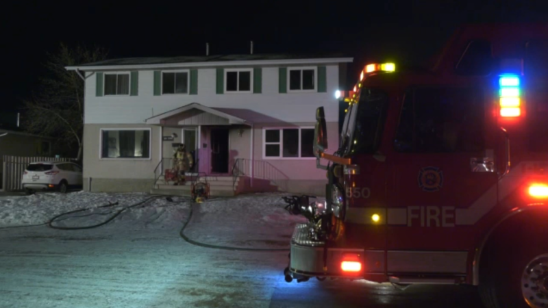 Two people were taken to hospital after a fire in northeast Edmonton on Jan. 22, 2021.