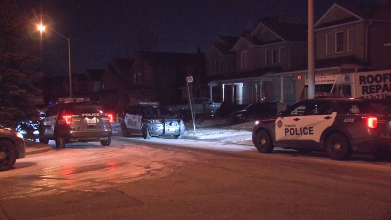 Toronto police are searching for three male suspects after a man was stabbed during a home invasion in Scarborough.