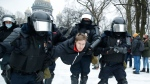 Russian police are arresting protesters demanding the release of top Russian opposition leader Alexei Navalny at demonstrations in the country's east and larger unsanctioned rallies are expected later Saturday in Moscow and other major cities. (AP Photo/Dmitri Lovetsky)