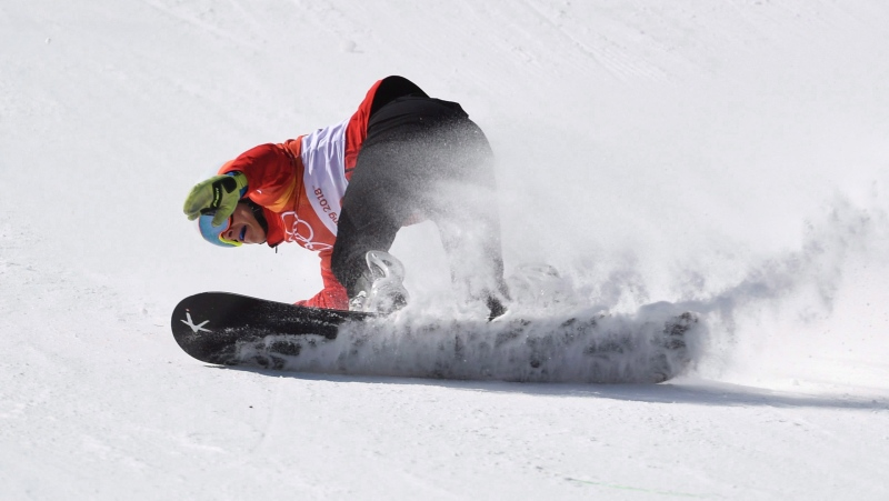 Canada's Eliot Grondin competes in a men's snowboard cross heat at the Phoenix Snow Park at the 2018 Winter Olympic Games in Pyeongchang, South Korea, Thursday, Feb. 15, 2018. THE CANADIAN PRESS/Jonathan Hayward