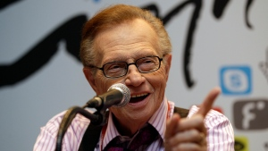 In this May 25, 2011 file photo, Larry King answers reporters' question at a press conference for Seoul Digital Forum in Seoul, South Korea. King, who interviewed presidents, movie stars and ordinary Joes during a half-century in broadcasting, has died at age 87. Ora Media, the studio and network he co-founded, tweeted that King died Saturday, Jan. 23, 2021 morning at Cedars-Sinai Medical Center in Los Angeles