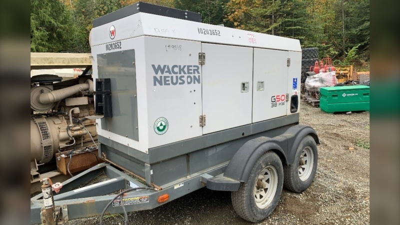 The stolen item is a Wacker Neuson G50 38kw mobile unit, and police believe the suspects used a truck to pull it off the property. (Comox Valley RCMP)