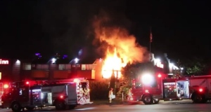 A fire at a motel in Burnaby sent three people to hospital early Saturday morning.