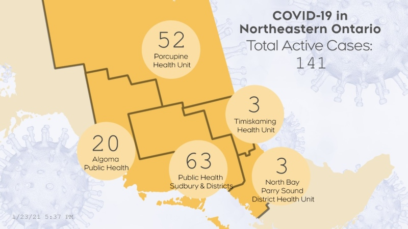 The number of active COVID-19 cases in northeastern Ontario as of Jan. 23 at 5:30 p.m. is 141. (CTV Northern Ontario)