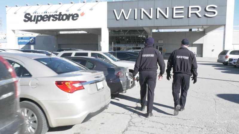 By-law enforcement officers for the City of Windsor carry out an enforcement blitz focused on big box stores in Windsor on Saturday, January 23, 2020. (Ricardo Veneza/CTV Windsor).