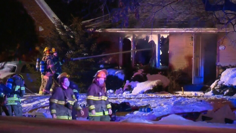 Man hospitalized after Kitchener house catches fir