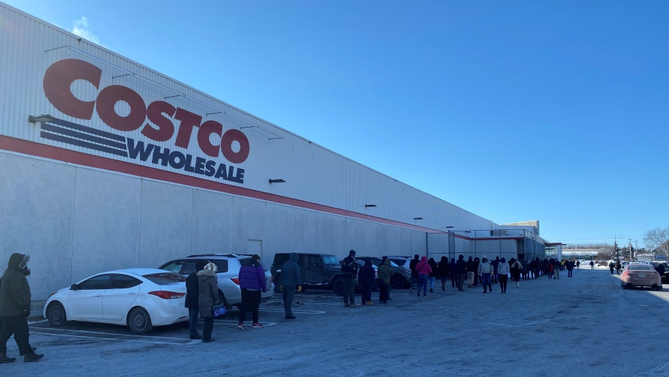 Customers brave cold temperatures to wait in line outside the Costco on Merivale Road on Saturday, Jan. 23. (Jeremie Charron/CTV News Ottawa)