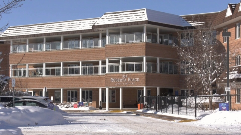 Roberta Place Long-Term Care Home in Barrie, Ont. on Saturday, January 23, 2021 (Don Wright/CTV News)