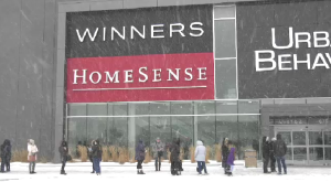 The day restrictions are eased in Manitoba, People line-up outside waiting to be allowed in the store in Winnipeg on Jan. 23, 2021. (Source: CTV News Winnipeg)