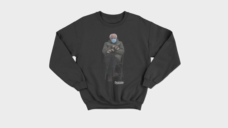 Bernie Sanders turned his inauguration meme into a sweatshirt for charity. (Friends of Bernie Sanders)