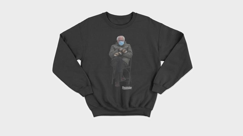 Bernie Sanders turned his inauguration meme into a sweatshirt for charity. (Friends of Bernie Sanders)