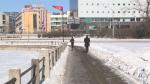 A jogger runs alongside the Rideau Canal in Ottawa. Saturday, Jan. 23, 2021. (Mike Mersereau / CTV News Ottawa)
