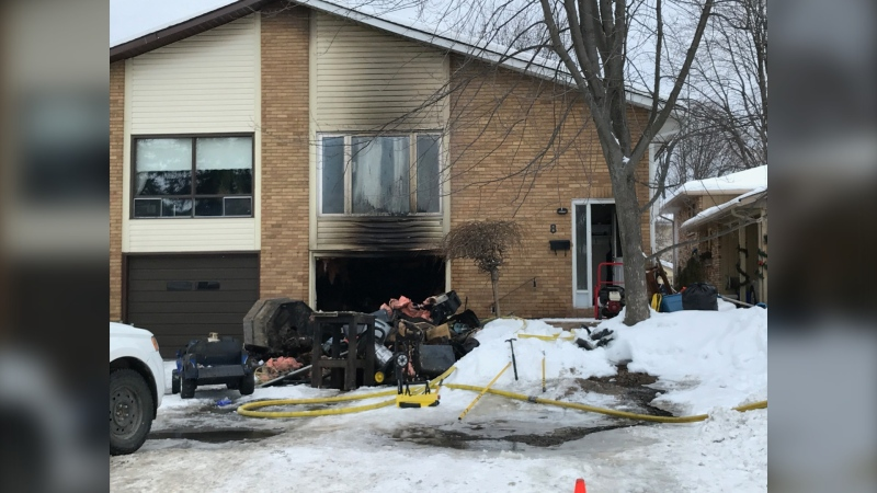 Firefighters in North Bay responded to a duplex fire on Kodiak Crescent Sunday morning with no injuries reported. Jan. 24/21 (Alana Pickrell/CTV News Northern Ontario)