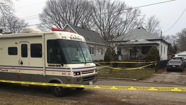 Sarnia Police Service investigate possible homicide located at a residence in the 200 block of Essex street, seen on Sunday Jan. 24, 2021 (Brent Lale/CTV News)