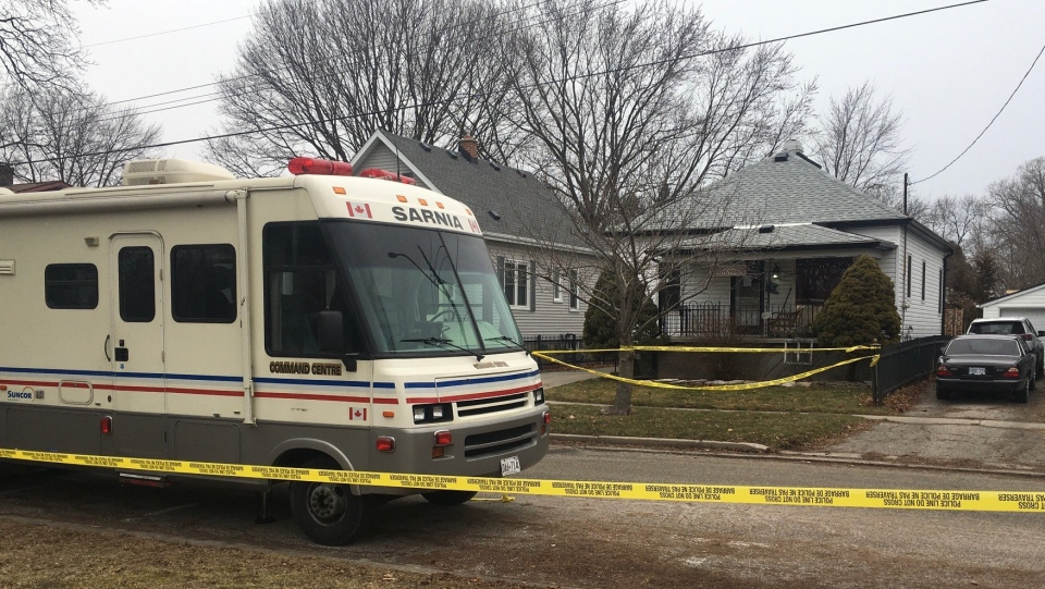 The Sarnia Police Service investigates a possible homicide located at a residence in the 200 block of Essex street, seen on Sunday, Jan. 24, 2021 (Brent Lale/CTV News)
