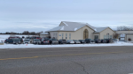 Cars parked at Trinity Bible Chapel in Woolwich Township for in-person service, despite COVID-19 lockdown restrictions. (Natalie Van Rooy/CTV Kitchener) (Jan. 24, 2021)