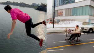 An action man thrill seeker in Montreal is clear that he doesn't want people to try his stunts at home, but he hopes they bring a smile to viewers' faces. SOURCE @parkourporpoise/Instagram