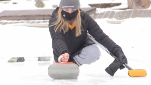 The lead for team northern Ontario, Amanda Gates decided to take advantage of her parent's property that backs onto Ramsey Lake in Sudbury, by making their very own ice to practice on. Jan. 24/21 (Molly Frommer/CTV News Northern Ontario)