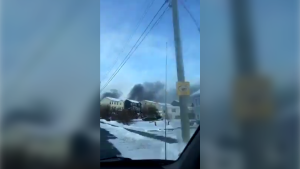 After around 5:00 p.m. on Sunday, fire crews continued to have difficulties accessing the fire's exact location. However, officials say the fire is related to over 100 burning tires. (Courtesy Twitter/HRM Fire News)