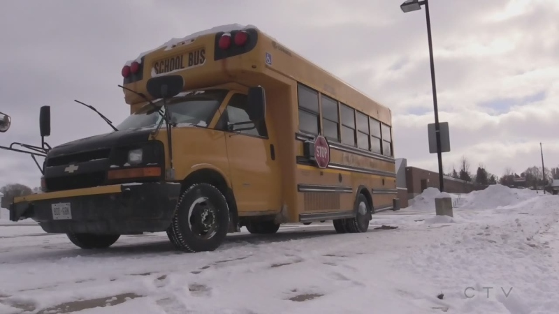 School bus in the winter