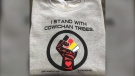 "Instead of words, Pagaduan decided to create a colourful image of a fist with an eagle that reads ""I Stand With Cowichan Tribes."""