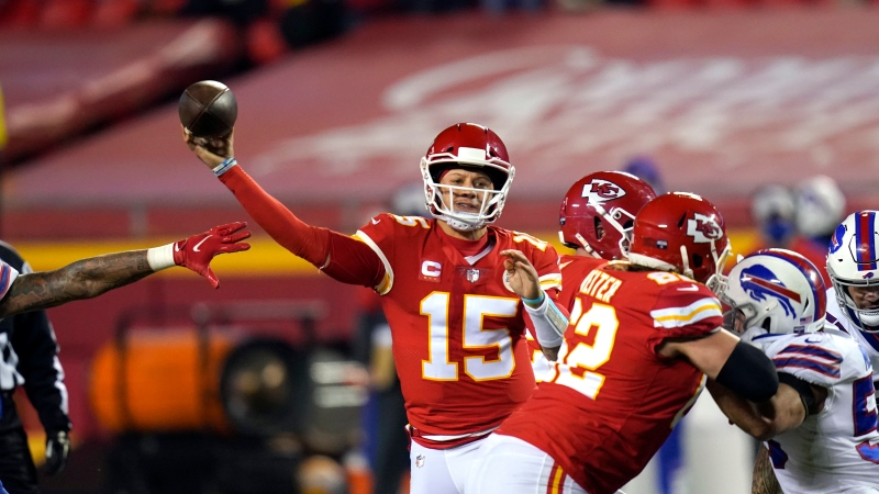 Kansas City Chiefs quarterback Patrick Mahomes throws a pass during the second half of the AFC championship NFL football game against the Buffalo Bills, Sunday, Jan. 24, 2021, in Kansas City, Mo. (AP Photo/Orlin Wagner)