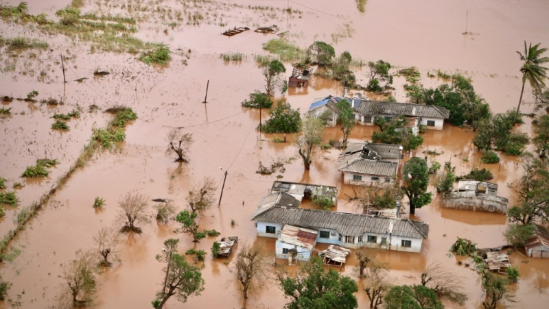 A flooded area of Buzi, central Mozambique, on March 20, 2019, after the passage of cyclone Idai. (AFP)