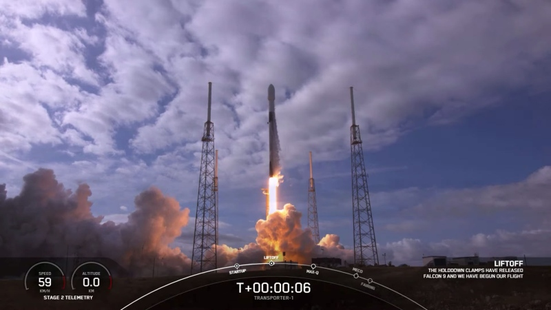 A SpaceX Falcon 9 rocket carried 143 satellites into orbit on a jam-packed rideshare mission Sunday, setting a new world record for the most satellites launched by a single rocket. (SpaceX/CNN)